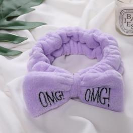 фиолетовая косметическая повязка с вышивкой omg